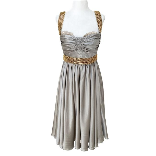 Item - Silver and Gold Silk Chain Corset Short Formal Dress Size 6 (S)