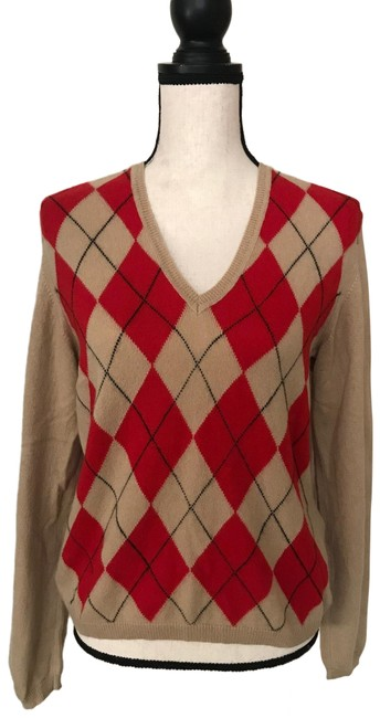 Item - Argyle Cashmere Tan /Red/Black Sweater
