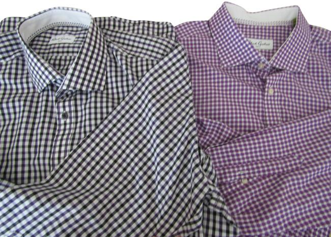 Item - Black / Purple / White Dress Shirts For Men / 46 Awesome Checked Button-down Top Size 12 (L)