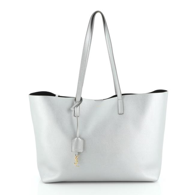 Item - Shopper Large Silver Leather Tote