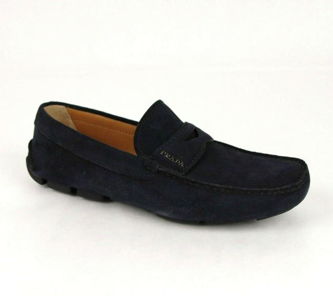 Item - Navy Blue W Suede Loafer Driver W/Silver Logo Uk 6/Us 7 2dd001 Shoes