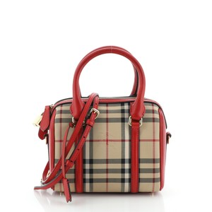Burberry Canvas Satchel in Brown, Red