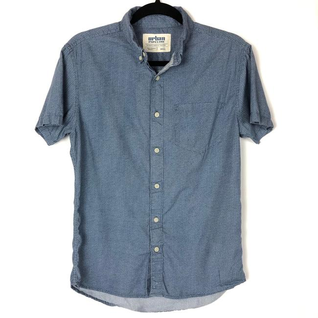 Item - Blue Shorts Sleeve T-shirt Button-down Top Size 6 (S)