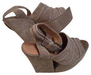 L.A.M.B. taupe Wedges