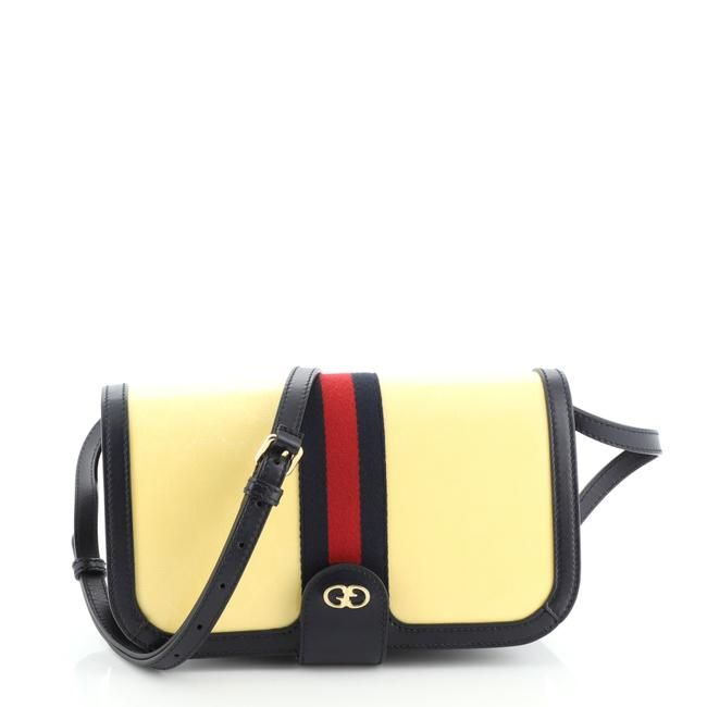 Item - Ophidia Compartment Gg Imprime Medium Blue Yellow Canvas Messenger Bag
