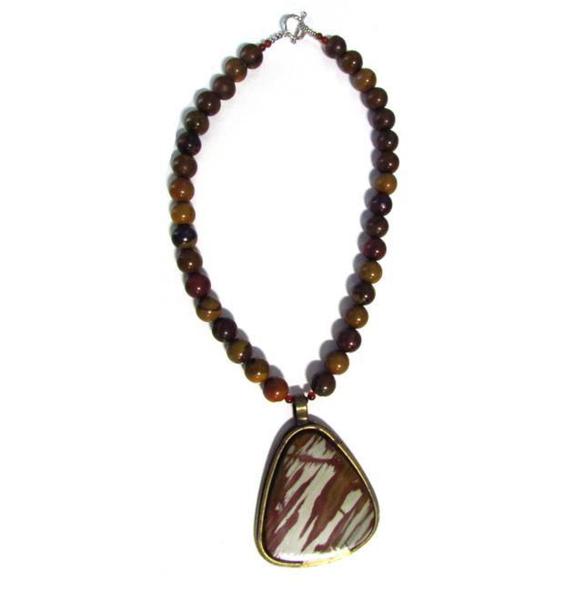 Item - Brown Handmade Picture Jasper & Amethyst Necklace