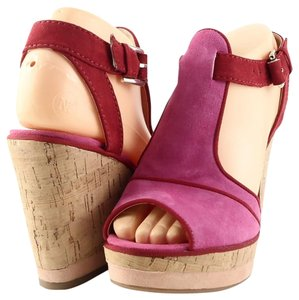 Enzo Angiolini Wedge Cork Pink/ Red Sandals