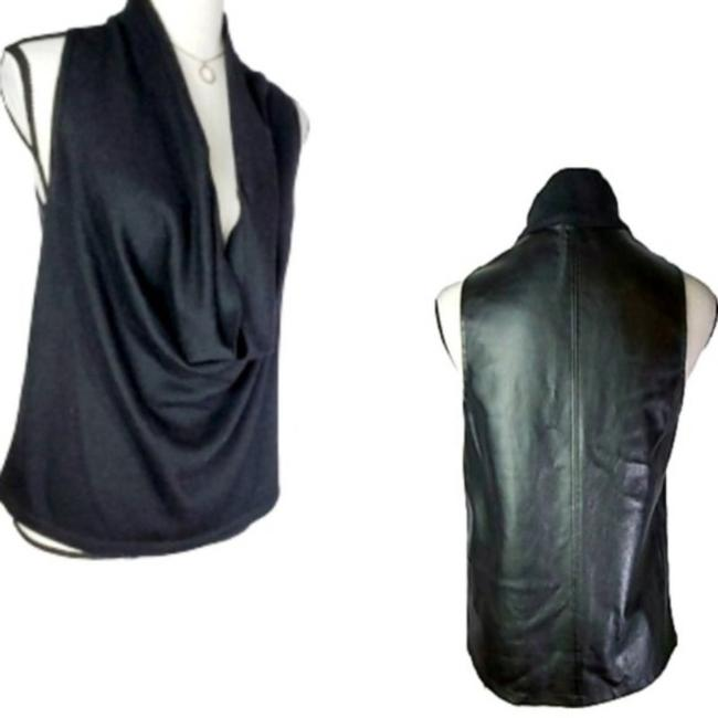 Item - Black Cowl Neck Mixed Media Faux Leather Tank Top/Cami Size 2 (XS)