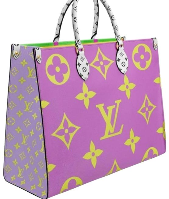 Item - Onthego Giant Limited Edition Multicolor Lilac Vert Green Orange Yellow Coated Monogram Canvas Tote
