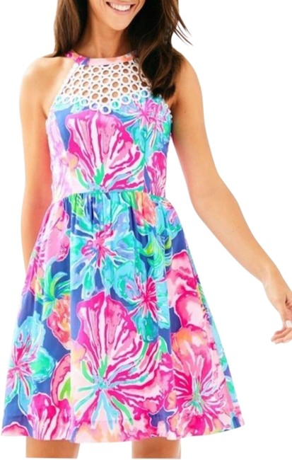 Lilly Pulitzer Pink White Kinley Beckon Blue Jungle New Short Cocktail Dress Size 0 (XS) Lilly Pulitzer Pink White Kinley Beckon Blue Jungle New Short Cocktail Dress Size 0 (XS) Image 1