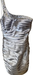 Adrianna Papell Ribbed Pleated One Shoulder Metallic Beaded Dress