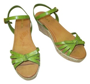 Prada Cork & Straw Sandals Green Wedges