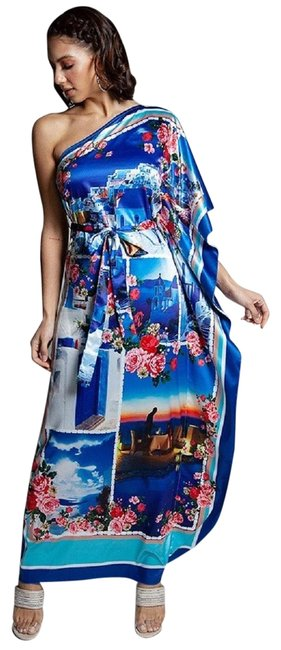 Item - Multi-color Vacation In Greece Floral One Shoulder Long Casual Maxi Dress Size 6 (S)