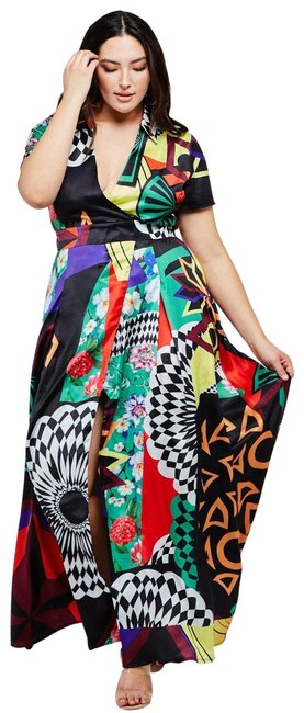 Item - Multi-color Multi - Color Abstract Print Boho Black Long Casual Maxi Dress Size 16 (XL, Plus 0x)