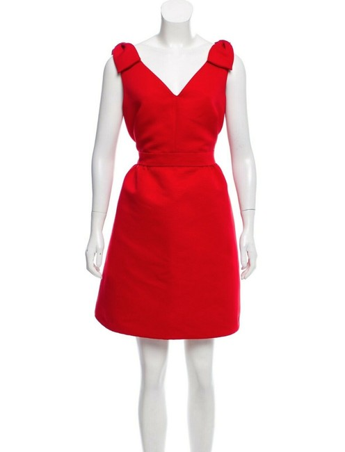 """Item - Red """"Spice Things Up"""" Bow Accented A-line Short Cocktail Dress Size 12 (L)"""
