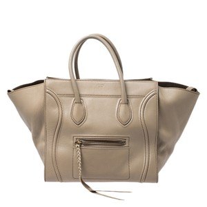 Céline Leather Suede Braided Signature Tote in Beige