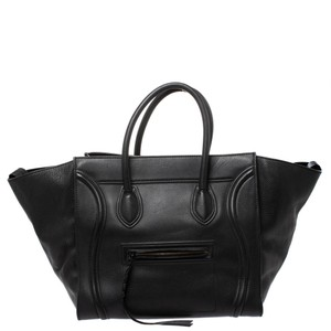 Céline Leather Signature Suede Tote in Black
