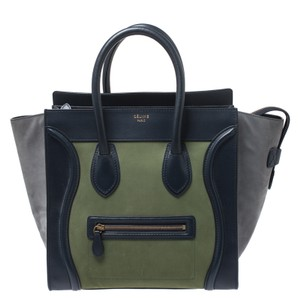 Céline Leather Mini Nubuck Tote in Multicolor