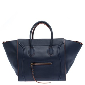 Céline Braided Leather Icon Signature Tote in Blue