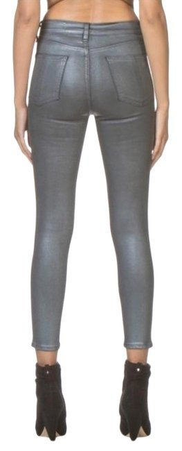 Item - Gray Medium Wash Gunmetal Metallic High Rise Skinny Jeans Size 25 (2, XS)