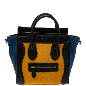 Céline Leather Tote in Multicolor