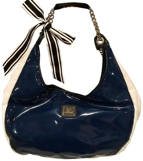 Item - W Gf W/ Chain Strap Grosgrain Bow Navy Blue & White Canvas Faux Patent Hobo Bag