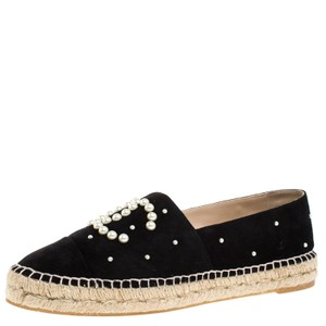 Chanel Suede Leather Pearl Espadrille Black Flats