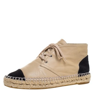 Chanel Leather Canvas Espadrille Beige Flats