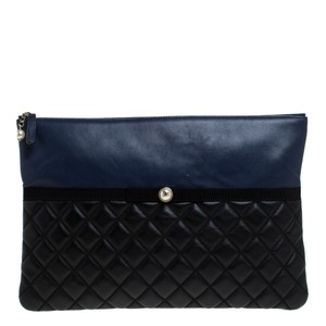 Chanel Quilted Leather Pearl Black Clutch