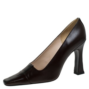 Chanel Striped Leather Pointed Toe Brown Pumps