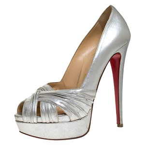 Christian Louboutin Peep Toe Platform Leather Silver Pumps