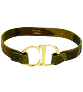 Dior Authentic Vintage Dior Galliano Camo CD Clasp Belt Size 65