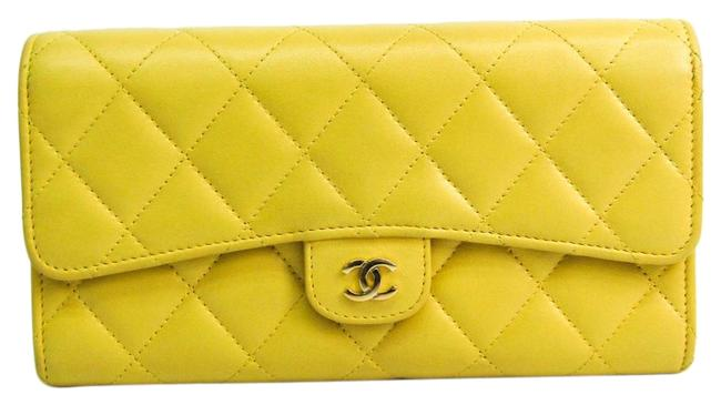 Item - Yellow Long Matelasse Women's Lambskin (Bi-fold) Wallet