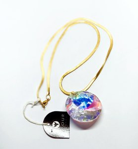 Clear Pure Crystal Gold Jewelry}crystal Necklace.crystal Pendant Gold-color Chain Jewelry Set