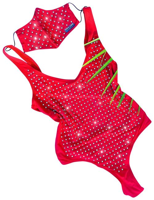 Item - Red Swimsuit with Crystals+ Face Mask Beachwear Swimsuit Pool Party One-piece Bathing Suit Size 6 (S)