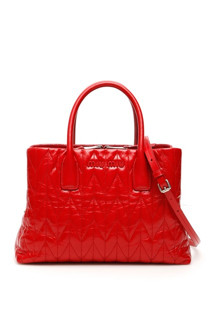 Item - Bag Quilted Shine Calfskin Red Tote