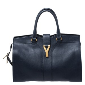 Saint Laurent Leather Satchel in Navy Blue
