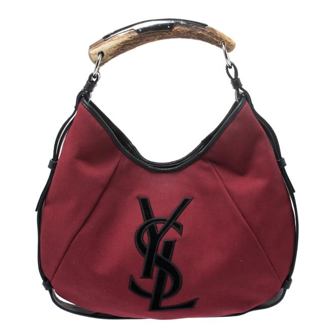Item - Mombasa Red/Black Horn Red Canvas and Leather Hobo Bag