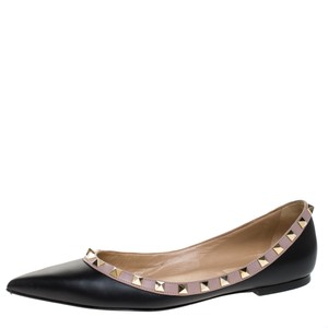 Valentino Leather Pointed Toe Black Flats