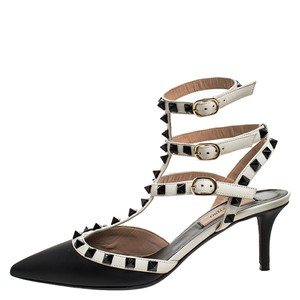 Valentino Leather Pointed Toe Black Sandals