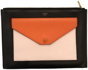 Céline Summer Chic Designer Black/orange/Blush Clutch