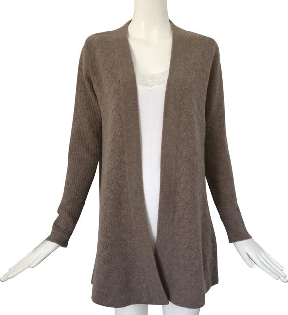 Item - Light Brown Pointelle Open Front Cashmere Sweater Cardigan Size 8 (M)