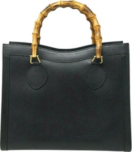 Gucci Bamboo Vintage Diana Leather Tote in Black