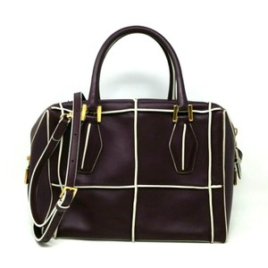 Tod's Bauletto Leather D-cube Bowler Tote in Eggplant