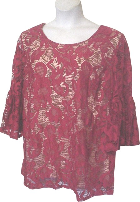 Item - Red XL Lace Overlay Beige Stretch Short Sleeve Shirt Tunic Size 16 (XL, Plus 0x)