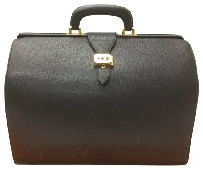 Item - Doctor's B Engraved Briefcase Business Noir/Black/Gold Courchevel Leather Messenger Bag