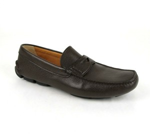 Prada Brown W Leather Loafer Driver W/Logo Uk 10.5/Us 11.5 2dd001 Shoes