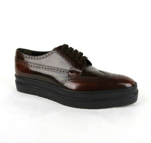 Prada Brown Shiny Leather Platform Oxford Uk 10.5/Us 11.5 2ee285 Shoes