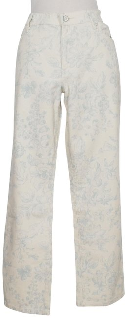 Item - Beige Blue Floral Stretch Modern Ankle 10 Straight Leg Jeans Size 33 (10, M)