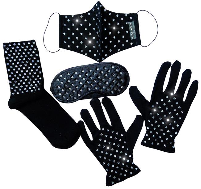 Item - Black Travel Crystal Kit: Face Mask Gloves Sleep Mask & Travel Blink Rhinestones Socks